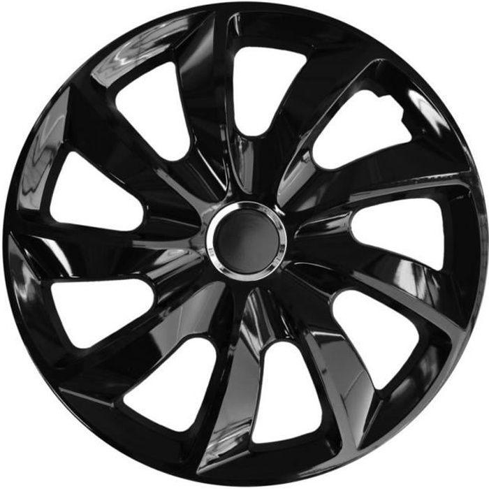 Enjoliveurs de roues STIG 14 - laqué noir 4 pièces