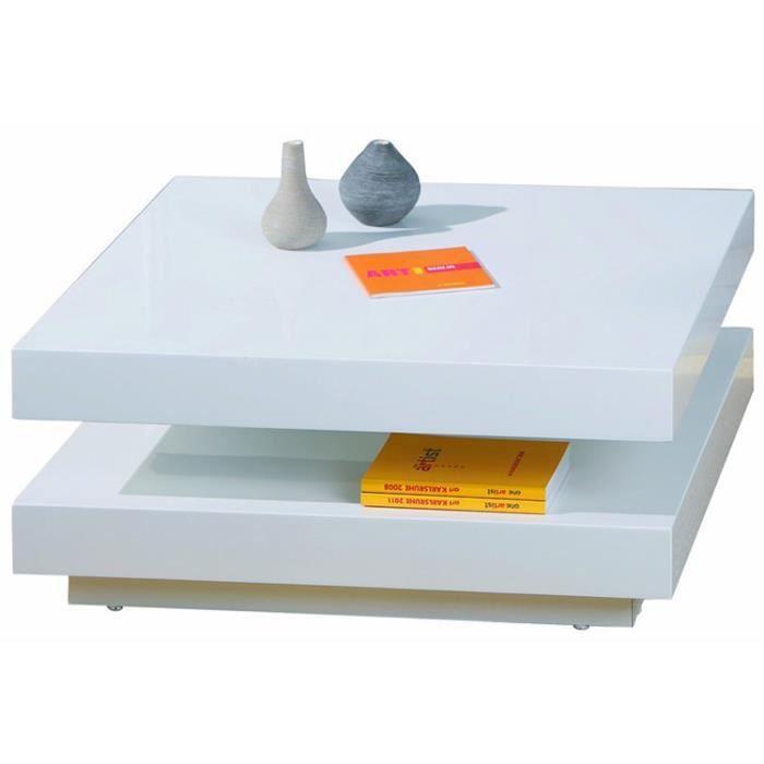 Table Basse Carrée Pivotante Blanc, Dim : 75 x 75 x 30 cm