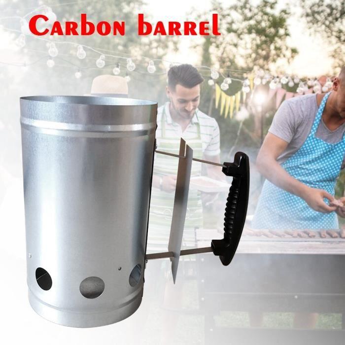 BJU Outils de Barbecue en carbone démarreur de cheminée à la maison feu antidérapant avec poignée rapide en plein air poêle à charbo