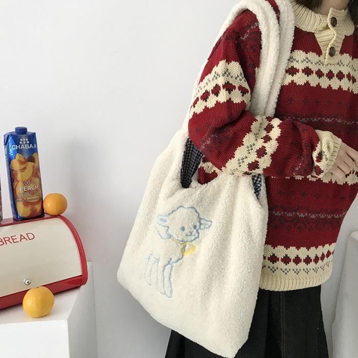 Sac à main,Femmes agneau comme tissu sac à bandoulière Simple toile sac à main fourre tout grande capacité broderie - Type Beige