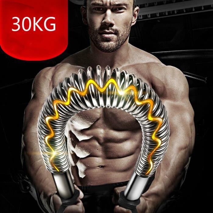 Power twister Barre à Ressort avec résistance 30kg, red plastic coated non-slip plating,pour pectoraux et Bras Muscles-argent
