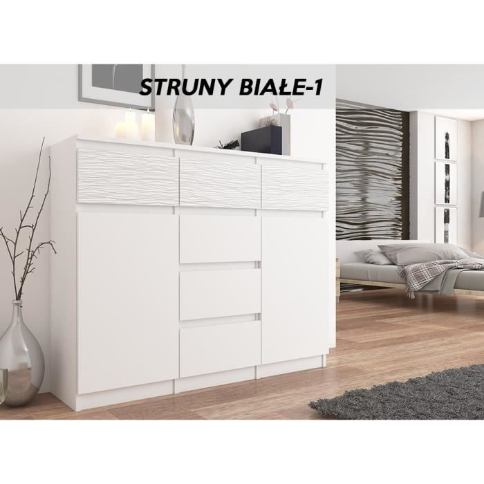 MONACO W1 - Commode contemporaine meuble chambre/salon - 120x40x98 - 6 tiroirs 2 portes - Dressing Finition Gloss - Buffet séjour -