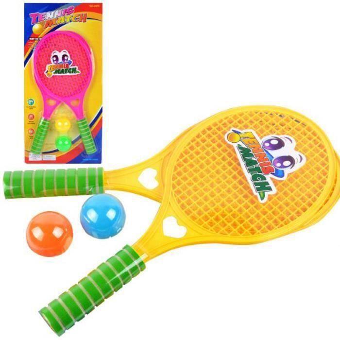 Lot de Petit Tennis Raquette de Tennis+Balle Tennis Jouet Cadeau Pour Enfant (Raquette 47cm+Balle 5cm)-Couleur Aléatoire QUI22912