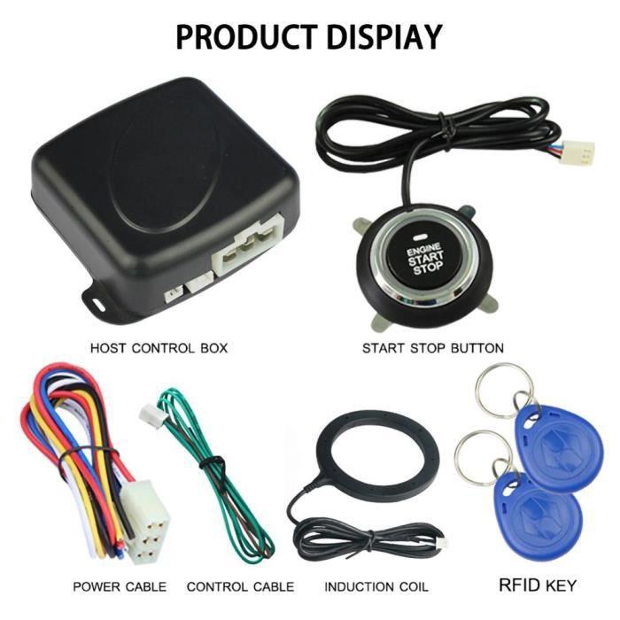 Antivol - Bloque Roue,Système d'alarme intelligent pour voiture, 12V, démarrage bouton d'arrêt sans clé, moteur Push - Type BK