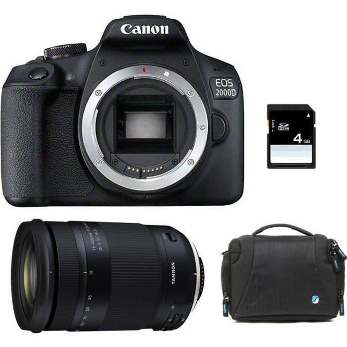 CANON EOS 2000D + TAMRON 18-400 f/3.5-6.3 Di II VC HLD GARANTI 3 ans + Sac + Carte SD 4Go