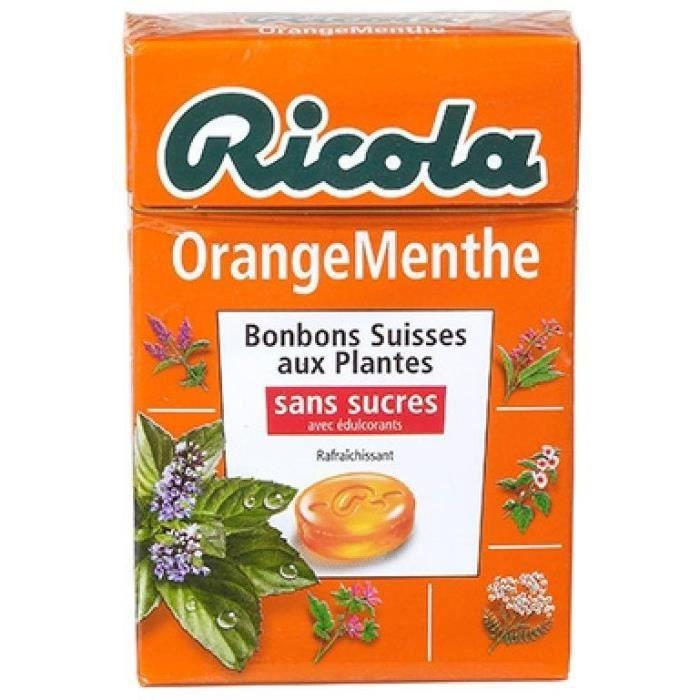RICOLA Bonbons Suisses aux plantes - OrangeMenthe - Sans sucres - 50 g
