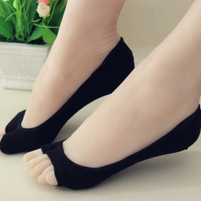 6 paires de chaussettes d'orteil en fibre d'aloès à bout ouvert respirant doux à invisibles sans GROUND MAT - GYM MAT - YOGA MAT