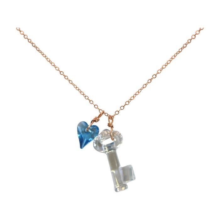 Gemshine - Femmes - Collier - pendentif - plaqué or rose - clés - coeur - bleu - de SWAROVSKI ELEMENTS® - 45 cm