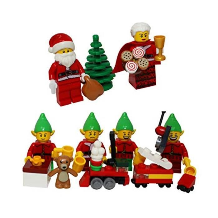 Jeu D'Assemblage LEGO T33AD Christmas Santa Claus, Mrs Claus, 4 Elves, Tree, Elf Gift Presents - Custom Xmas Minifigure