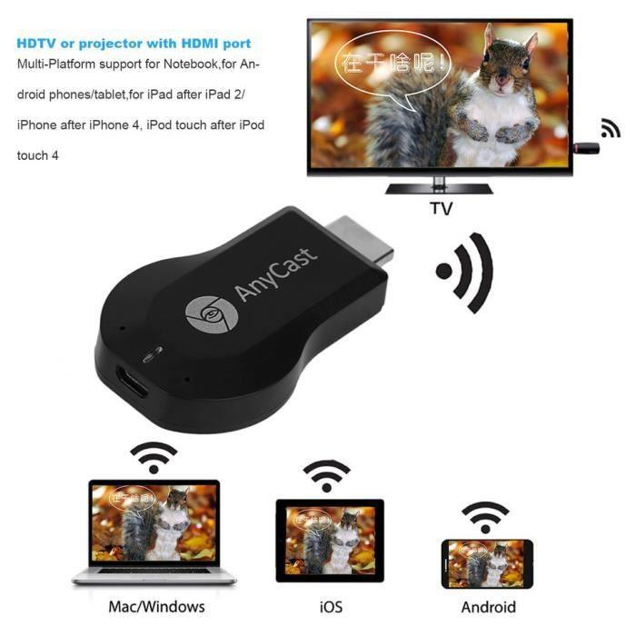 Récepteur d'affichage Wifi Hdmi 1080P Tv Dongle Récepteur Smartphone Récepteur Ordinateur Portable