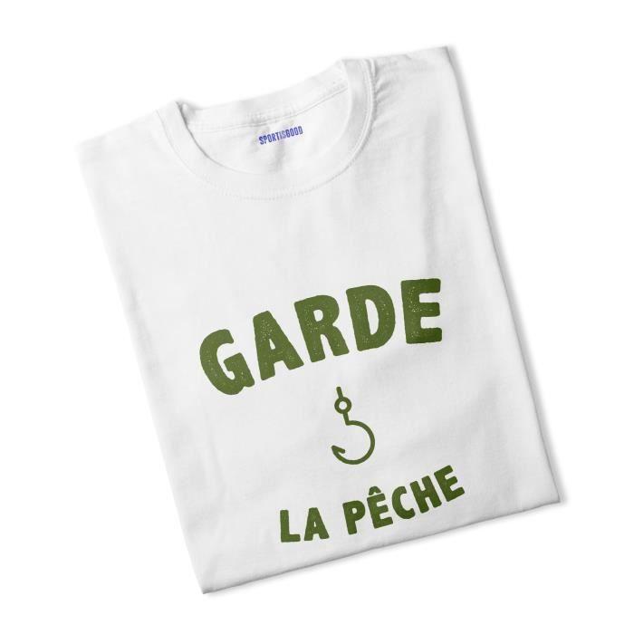 T-shirt garçon Garde la pêche - blanc - 12/14 ans