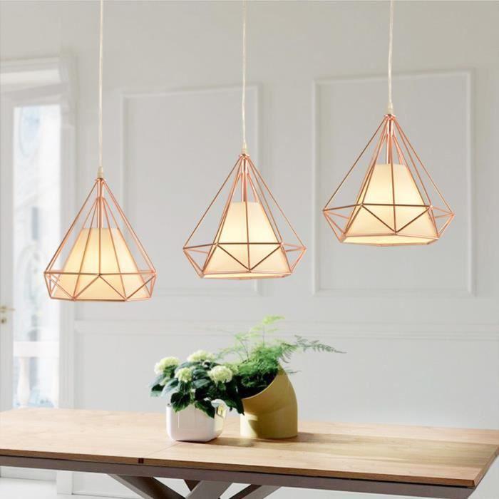 Suspension Lustre Industrielle forme Diamant de Barre 3 luminaire Abat-jour E27 pour salon cuisine, Or Rose