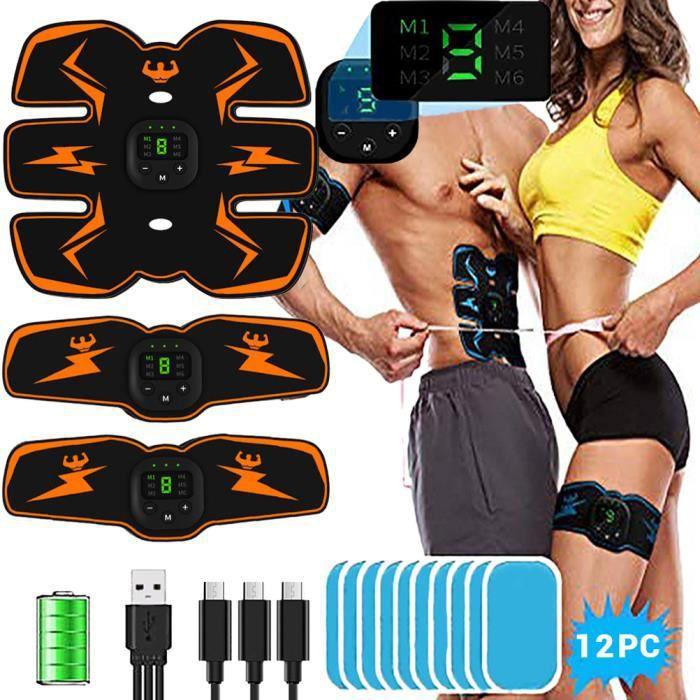 Abdominaux Électrique EMS Smart Ceinture abdominal Massage Musculaire ave d'hydrogel pour Femmes Hommes USB de Charger