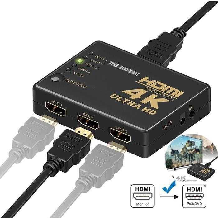 Cable HDMI switch 4k 1080P 5ports sélecteur répartiteur cummutateur splliter automatique adaptateur télécommande vidéo support perfo