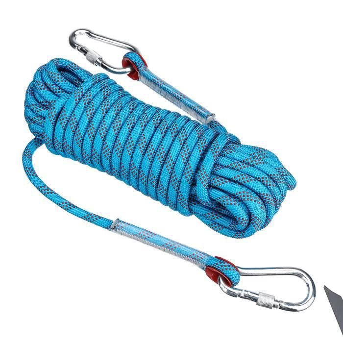 TEMPSA 10M Corde d'escalade Corde Sécurité de Sauvetage Survie en Plein Air BLEU