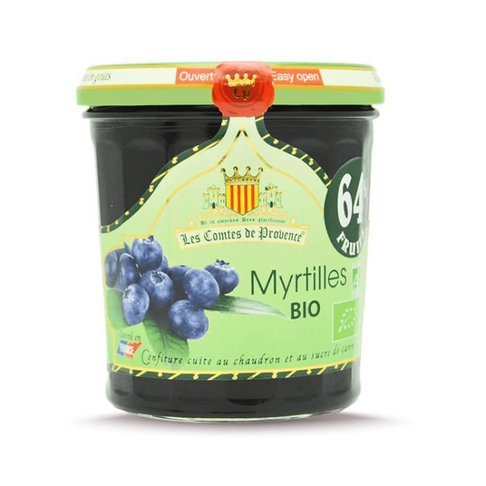 Confiture de Myrtilles BIO 350G - 65% de fruits - Les Comtes de Provence