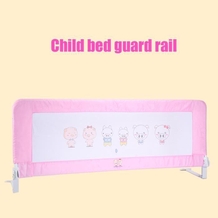 150cm Barrière de Lit Enfants Barrière de protection Sécurité - Rose