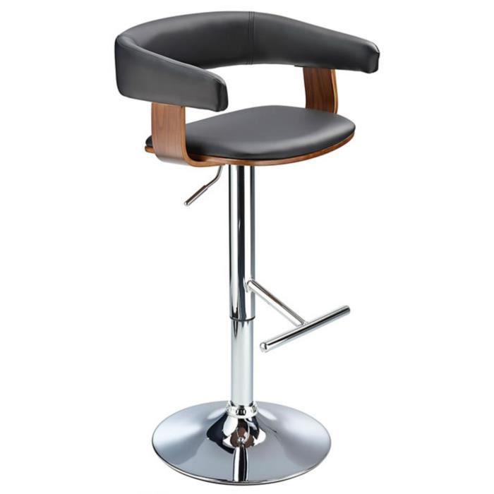 mustang cuisine petit tabouret de bar enti rement r glable noyer et noir achat vente. Black Bedroom Furniture Sets. Home Design Ideas