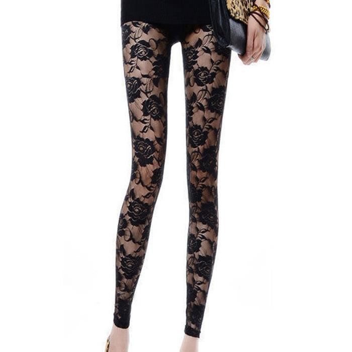 legging dentelle noir rose collant semi transparent sexy femme achat vente legging. Black Bedroom Furniture Sets. Home Design Ideas