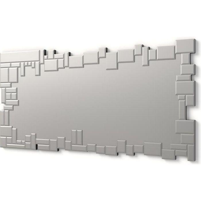 90 x 50 cm D/écoration Murale Dor/é et Argent/é Beliani Astatine Formes G/éom/étriques en M/étal