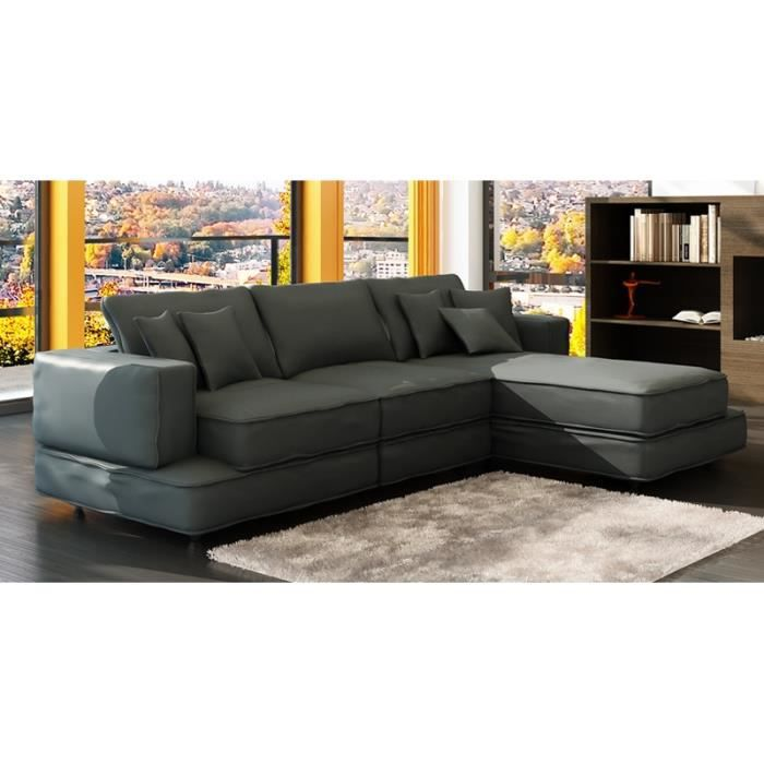 canap d 39 angle en cuir gris vegas achat vente canap sofa divan cdiscount. Black Bedroom Furniture Sets. Home Design Ideas