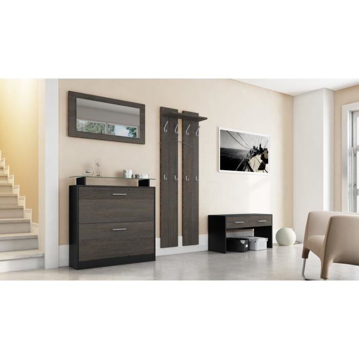ensemble de meubles d entr e noir et bois weng achat vente meuble d 39 entr e ensemble de. Black Bedroom Furniture Sets. Home Design Ideas