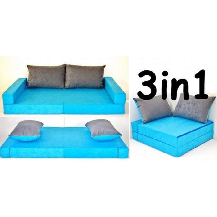 canap sofa enfant 3 en 1 bleu et gris avec 2 coussins. Black Bedroom Furniture Sets. Home Design Ideas