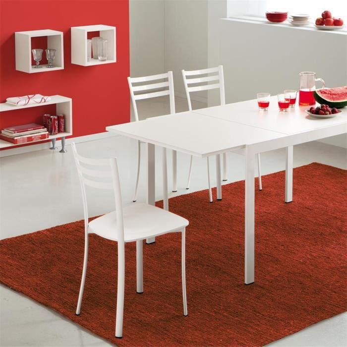 Chaise de cuisine gris alu et blanc LOUISE - Achat / Vente ...