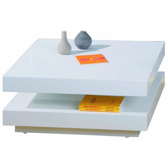 Table basse carr e pivotante blanc dim 75 x 75 x 30 cm for Table basse carree blanc laquee