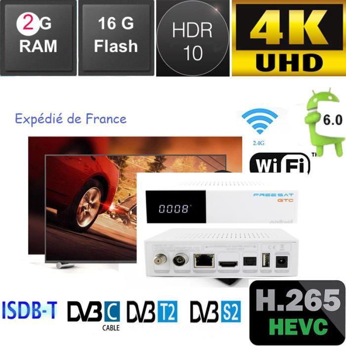 Freesat GTC 2g 16g tv box 4k android Satellite Receiver works DVB-S2