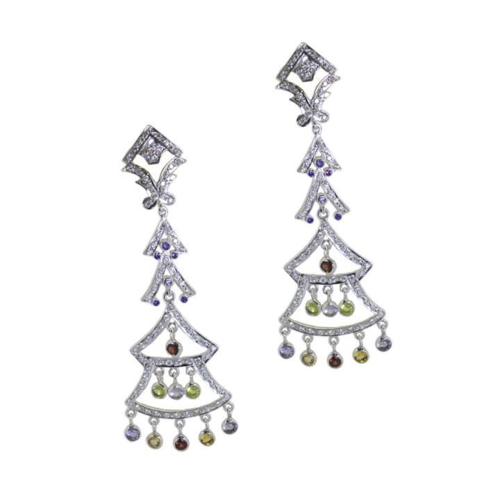 Multi CZ Earring - Boucle dArgent - Multi Boucles doreilles - Argent Boucles doreilles multi