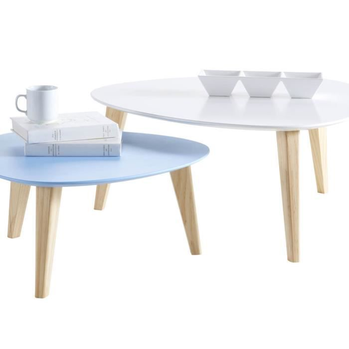 lot de 2 tables basses stone blanc bleu achat vente table basse lot de 2 tables basses. Black Bedroom Furniture Sets. Home Design Ideas