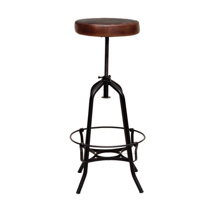 tabouret de bar m tallique assise cuire cardiff achat vente tabouret cdiscount. Black Bedroom Furniture Sets. Home Design Ideas