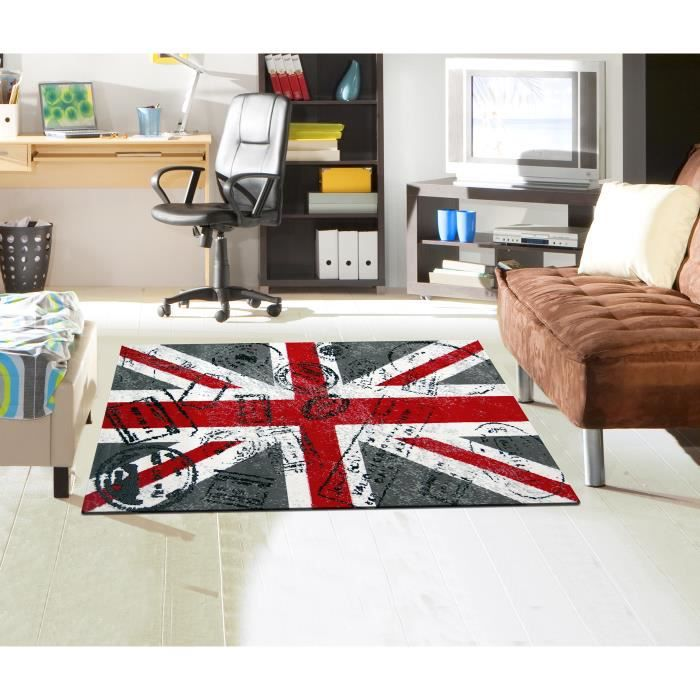 tapis uk timbre 80 x 150 cm achat vente tapis black friday le 24 11 cdiscount. Black Bedroom Furniture Sets. Home Design Ideas