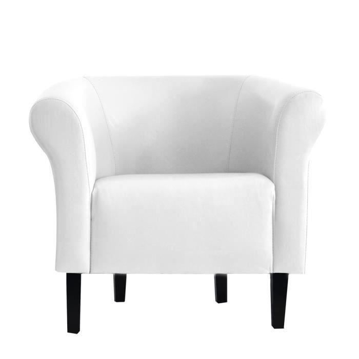fauteuil crapaud monaco 2 simili cuir blanc achat. Black Bedroom Furniture Sets. Home Design Ideas