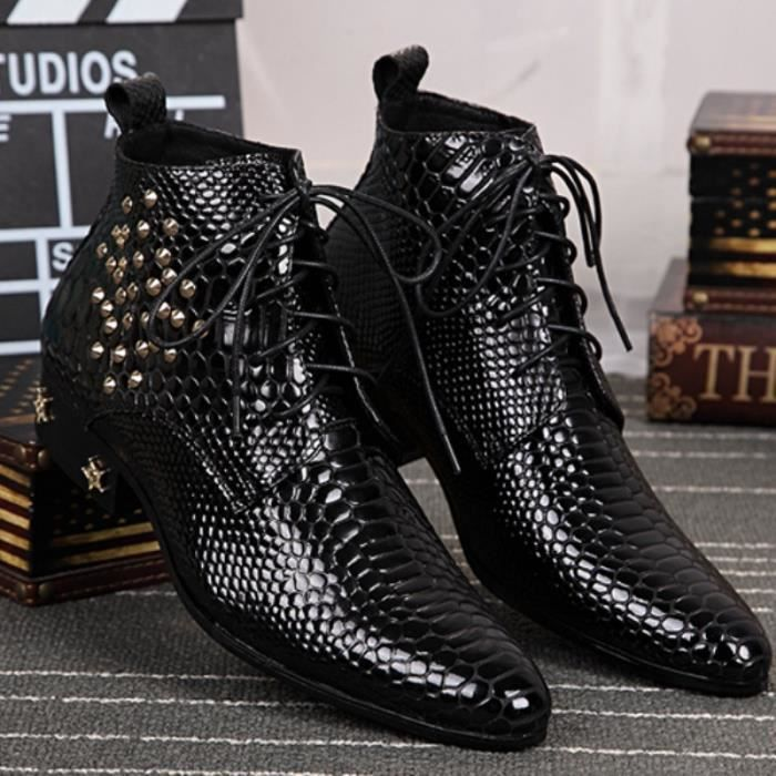 Mode Style Punk Bottes Hommes conception point Toe Casual Chaussures en cuir Taille