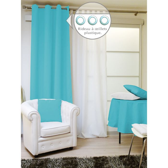 rideau a oeillets 140x240 alix turquoise et achat vente rideau 100 polyester cdiscount. Black Bedroom Furniture Sets. Home Design Ideas