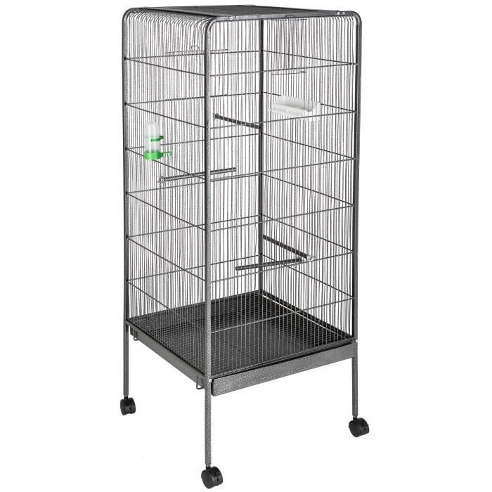 cage oiseaux voli re argent e 146 cm de haut mangeoire perchoirs tectake achat. Black Bedroom Furniture Sets. Home Design Ideas