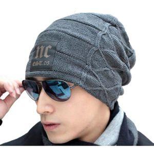 BONNET - CAGOULE Bonnet Hiver Homme Tricoté avec Motif Beanie Rever