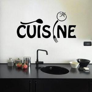 STICKERS Noir Stickers Muraux Cuisine Fourchette Et Cuillèr