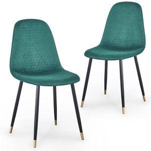 CHAISE Lot de 2 chaises scandinaves design en velours ver