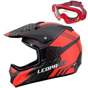 Leopard LEOX307 Casque de Moto Cross Int/égral ECER Homologu/é Homme Femme Noir Mat XS 53-54cm