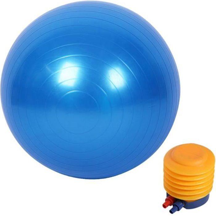 Boule de Yoga Ballon de Gym Ballon de Fitness avec un gonfleur 55 cm Bleu