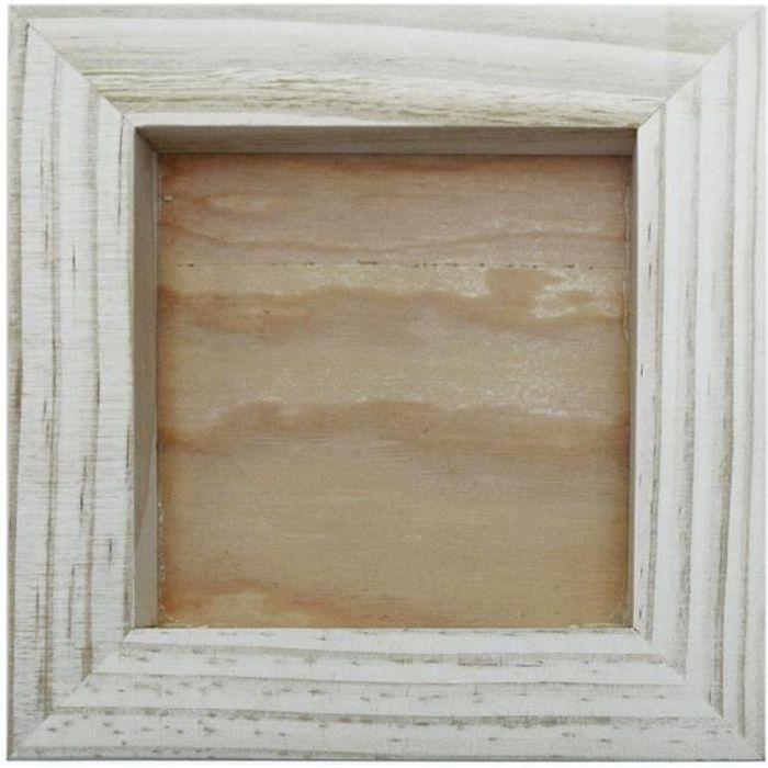 Cadre bois brut pour objets et création en relief 15 x 15 cm