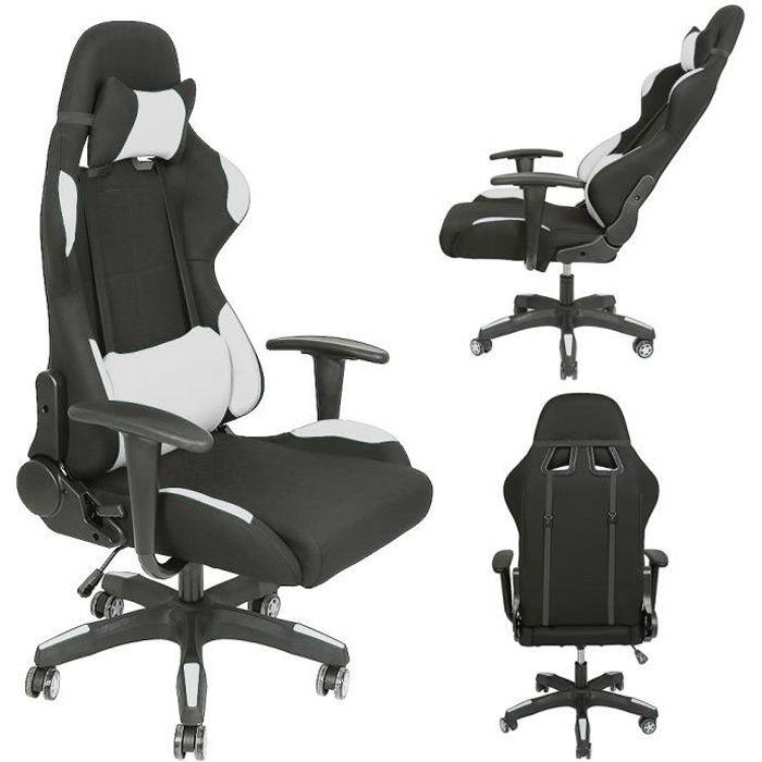 Fauteuil chaise de bureau noir et blanc inclinable ergonomique design moderne - Chaises de Gaming Tissu Pivotante