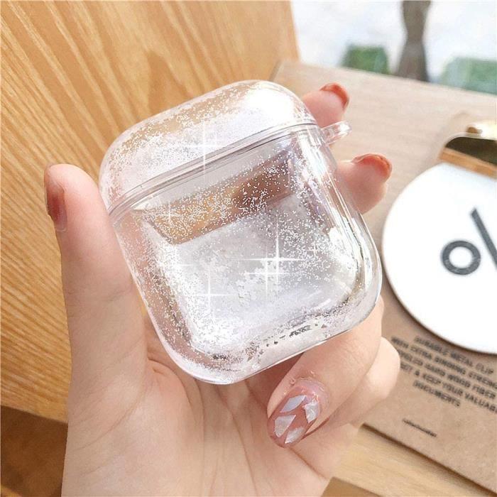 Coque Airpods 1 & 2,Compatible avec Airpods Coque,Compatible avec Airpods étui Liquide Glitter Quicksand 3D Flocon de Neige Shell
