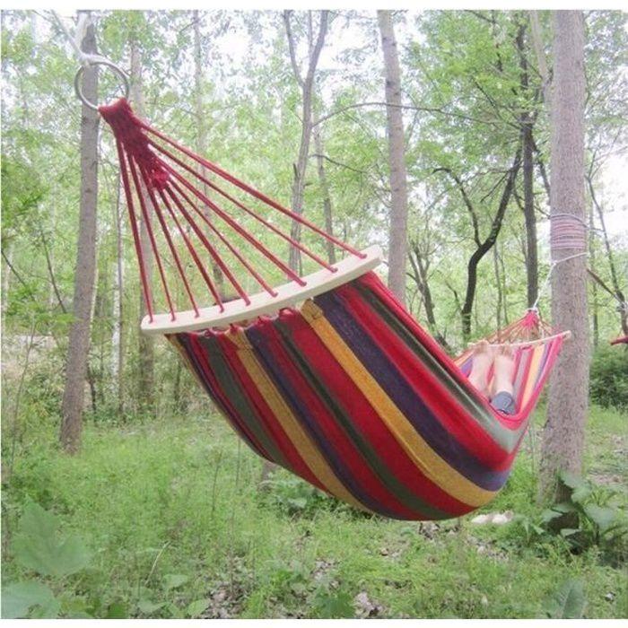 3 pcs 250*150 Cm 2 Personnes En Plein Air Toile Camping Hamac Plier Bâton De Bois Stable Hamak Jardin Balançoire Chaise Suspendu