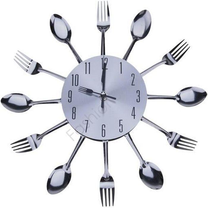 Élégant Cool Design moderne Horloge murale Argent coutellerie de cuisine Ustensile Vintage Design Horloge murale fourchette cuillère
