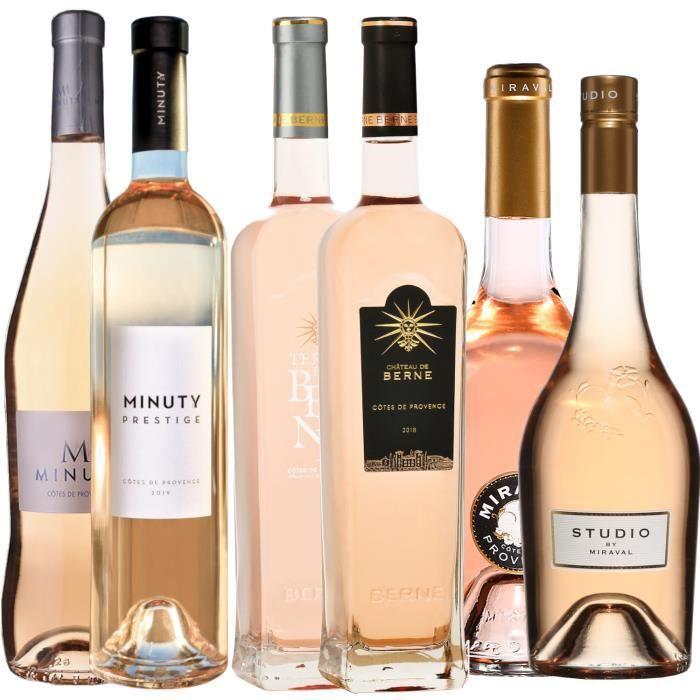 Best of Provence - Lot de 6 bouteilles - Minuty : M - Prestige - Berne : Château - Terre - Miraval : Studio - Jolie-Pitt - Côtes de