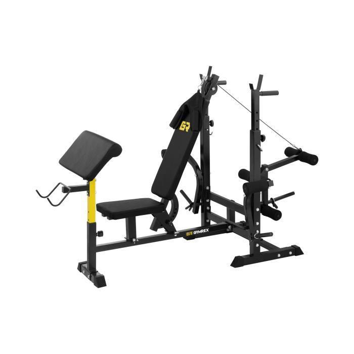 Banc de musculation Multifonction Appareil Fitness Gymrex GR-WB50 (Presse à Pectoraux, Pupitre à Biceps, Max 280 Kg)